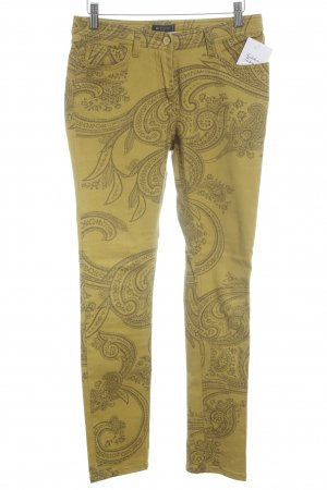 Etro Slim Jeans limettengelb-olivgrün Ornamentenmuster Casual-Look