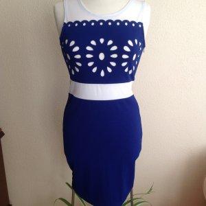Etui Kleid blau / weiß Gr 34/36