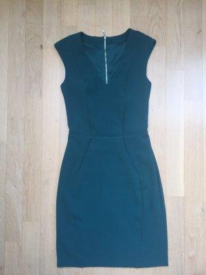Etui-Kleid grün Gr. XS, 34 Kreppstoff figurbetont