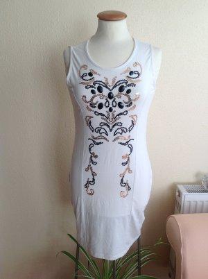 Etui Kleid mit Pailletten,weiß Gr.36