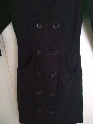 Etui Kleid schwarz ¾ Arm Gr. 34 mit doppelreihigen Knöpfen zu schliessen,