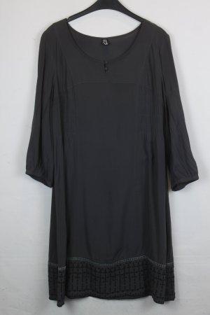 Etui Kleid Tunikakleid Gr. M dunkelgrau mit schwarzem Strickmuster (18/4/338)