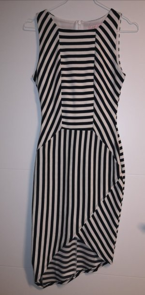 Stretch jurk wit-zwart