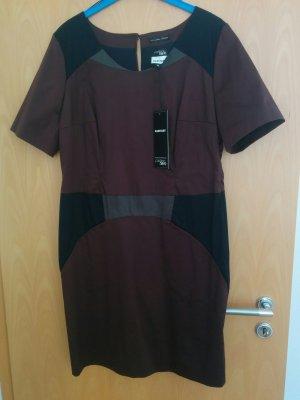Etuikleid, Abendkleid mit Ärmeln und Taschen, braun, schwarz