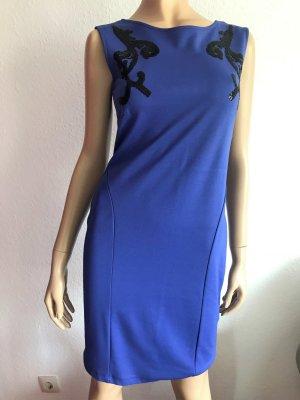 Etuikleid Blau Gr. 38 Blaues Kleid kurz kurzes eng Cocktailkleid Pailletten