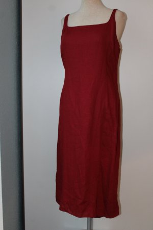 JIGSAW High Low Dress dark red linen