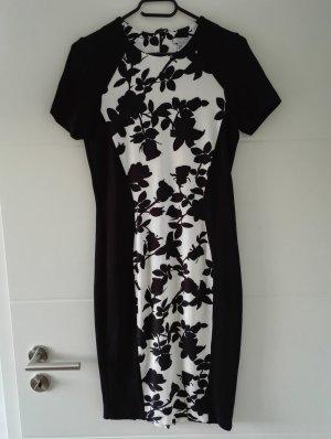 Etuikleid / elegantes Kleid / knielang / Größe 38 - 40 / schwarz weiß / für Sommer und Winter
