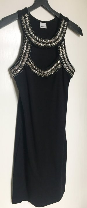 Gina Tricot Vestido cut out negro-color plata