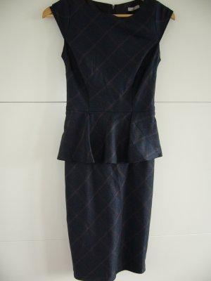Etuikleid mit Peplum dunkelblau, feine rostrote große Karos, Orsay XXS 32