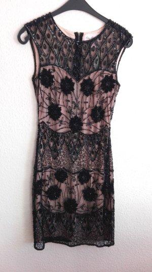 Etuikleid Pailettenkleid Miss Selfridge 20er Jahre Stil Perlen Cut-Outs schwarz nude Blüten Perlen Great Gatsby Stil