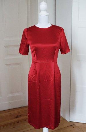 Etuikleid rot Seide Satin Stretch Bleistift Kleid knallrot elegant 36 S 38 M