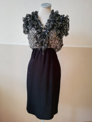 Etuikleid schwarz Oppose Gr. S 36 38 Rüschen Kleid Chiffon Blusenkleid