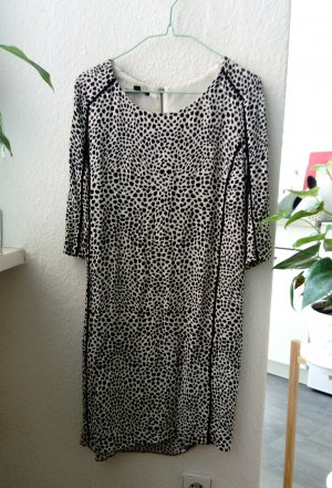 Mango Sheath Dress black-white viscose