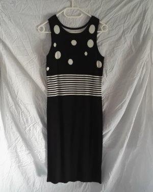 Etuikleid Strick Kleid in Schwarz/Weiss Punkten Streifen von SINGH S. MADAN Gr.38 Neu