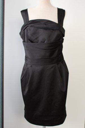Etuikleid Trägerkleid schwarz Satin Savida Gr. 42 L