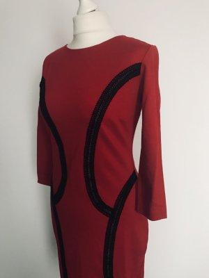 Ana Alcazar Vestido ceñido de tubo negro-rojo
