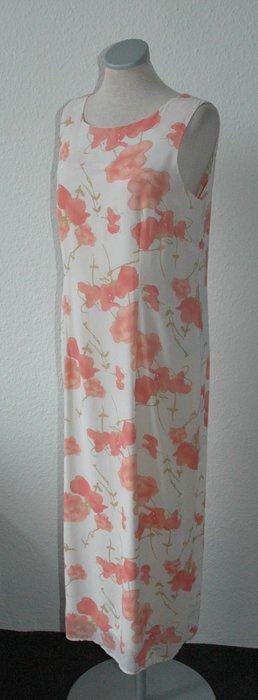 Etuikleid weiß rosa Gr. UK 12 38 S M lang Kleid Büro Sommer