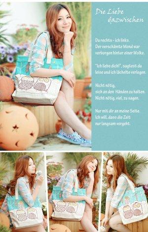Eulen Tasche für Mädels Vegane Stoffe Bio Baumwolle Canvastasche Schultertasche