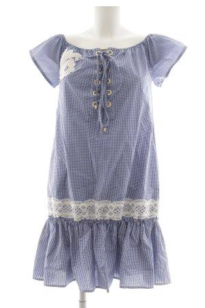 Eureka Kurzarmkleid weiß-stahlblau Country-Look