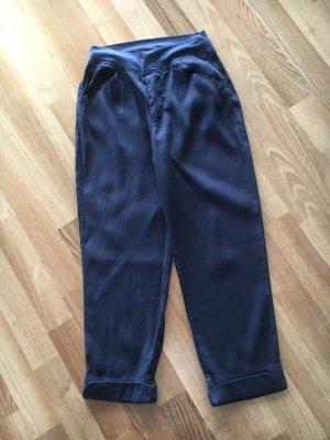 European Culture Pantalone di lino blu scuro Tessuto misto