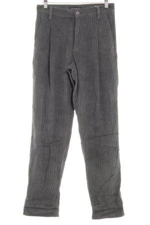 European Culture Corduroy Trousers dark grey striped pattern casual look