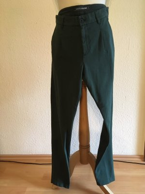 European Culture Pleated Trousers petrol cotton