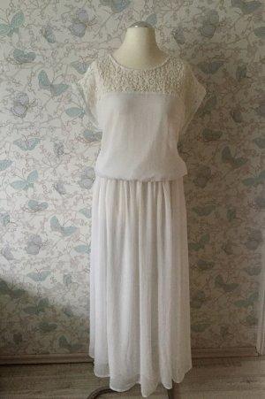Evaw Wave Chiffon-Kleid mit Häckel-Spitze, Gr. L, weiß, Neu