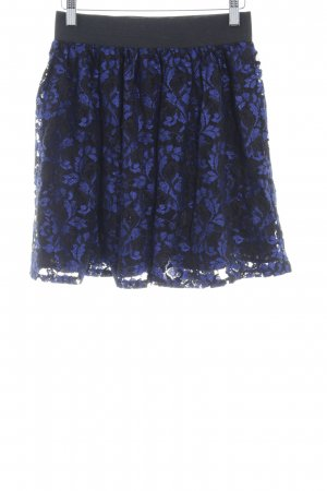 Even & Odd Balloon Skirt black-blue floral pattern '80s style