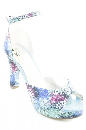 Even & Odd High Heels neongrün-neonblau Blumenmuster Beach-Look