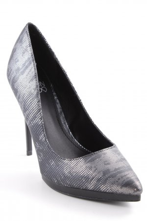 Even & Odd High Heels schwarz-silberfarben Animalmuster Party-Look