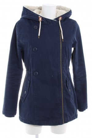Even & Odd Capuchon jas donkerblauw-wolwit casual uitstraling
