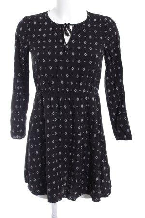 Even & Odd Langarmkleid schwarz-weiß abstraktes Muster Casual-Look