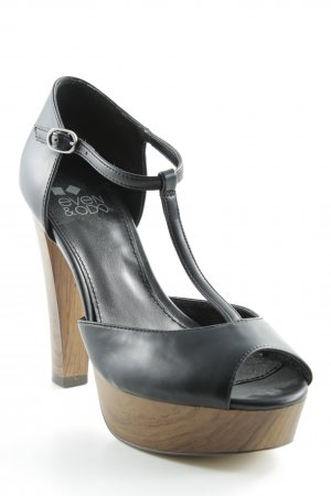 Even & Odd Peeptoe Pumps schwarz-beige Party-Look