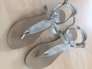 Even & Odd Toe-Post sandals light grey-oatmeal