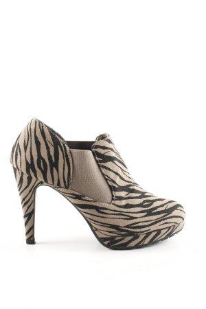 Even & Odd Slip-on Booties cream-black animal pattern extravagant style