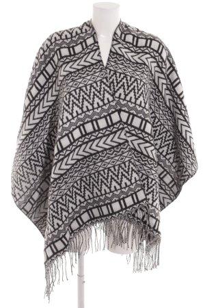 Even & Odd Poncho in maglia nero-bianco motivo etnico stile casual
