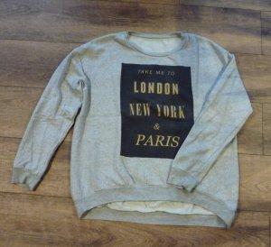 Even&Odd Sweatshirt grau schwarz gold Gr. XL / 42
