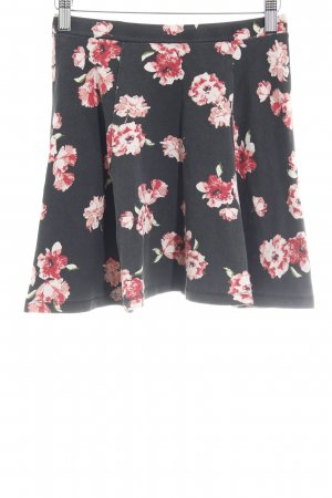 Even & Odd Circle Skirt grey-brick red flower pattern casual look