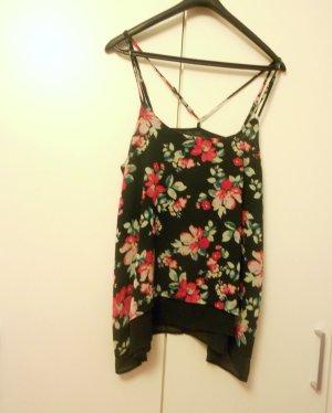 Even&Odd Top Shirt Gr. M schwarz Blumen