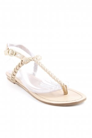 Even & Odd Zehentrenner-Sandalen beige-goldfarben Zopfmuster Elegant