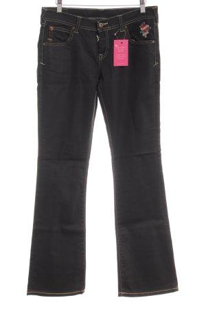 Evisu Pantalon pattes d'éléphant noir style décontracté