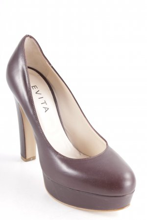 Evita Décolleté con plateau marrone scuro-beige elegante