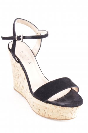 Evita Wedge Sandals black-beige casual look