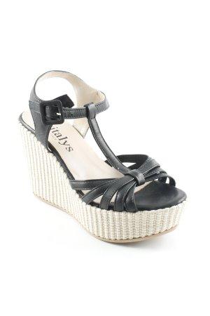 Evita Wedges Sandaletten schwarz-hellbraun extravaganter Stil