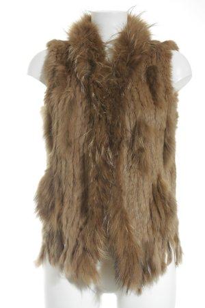 Ex-J Smanicato di pelliccia marrone chiaro-color cammello elegante