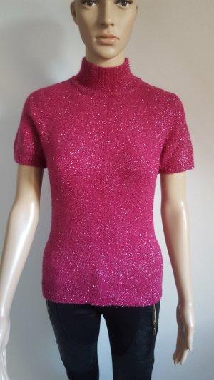 Cardigan en maille fine rouge fluo laine angora