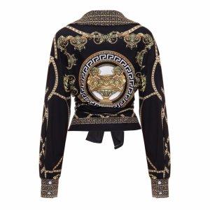 Exclusive Bluse Tunika in gr 42-44 Neu Vintage Schwarz Gold