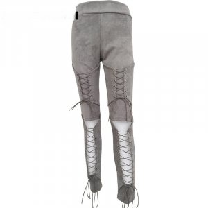 Leather Trousers silver-colored mixture fibre