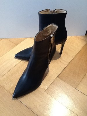 Exclusive schwarze Leder-Stiletto-Stiefelette