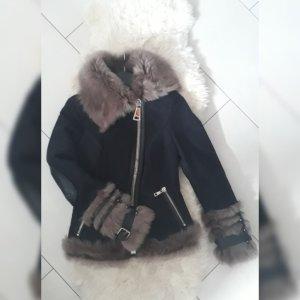 Pelt Jacket dark blue-grey brown leather